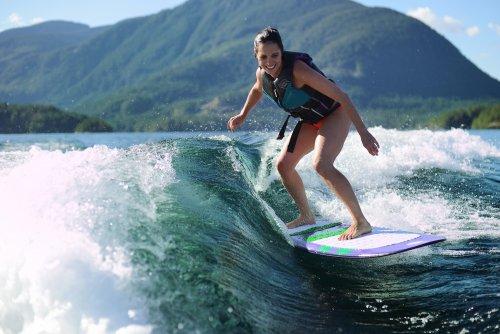 Wake surfing on Sproat Lake