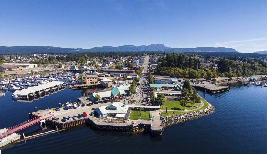 Aerial view from the  Port Alberni Harbour to Mount Arrowsmith